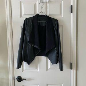 Onto the Next Faux Leather Drape Front Jacket
